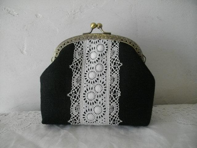 アンティーク手刺繍カットワークレース&黒リネンがま口アーチ12