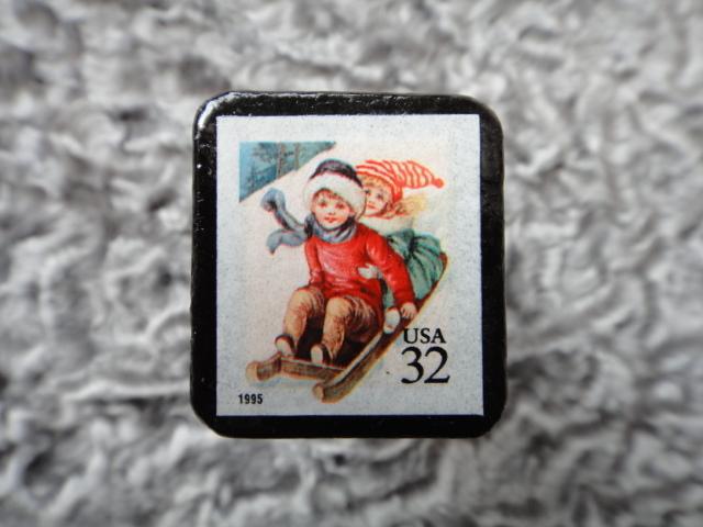 アメリカ クリスマス切手ブローチ524