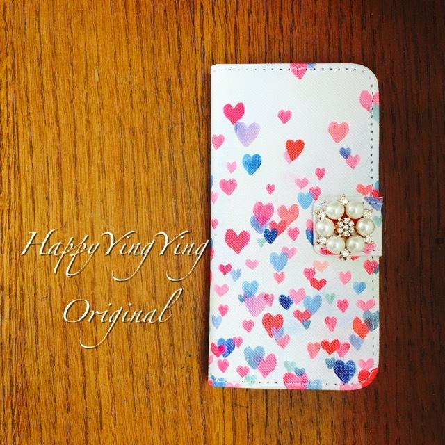 【iphone5/5S/SE】【穴2】舞い上がったハート手帳型ケース
