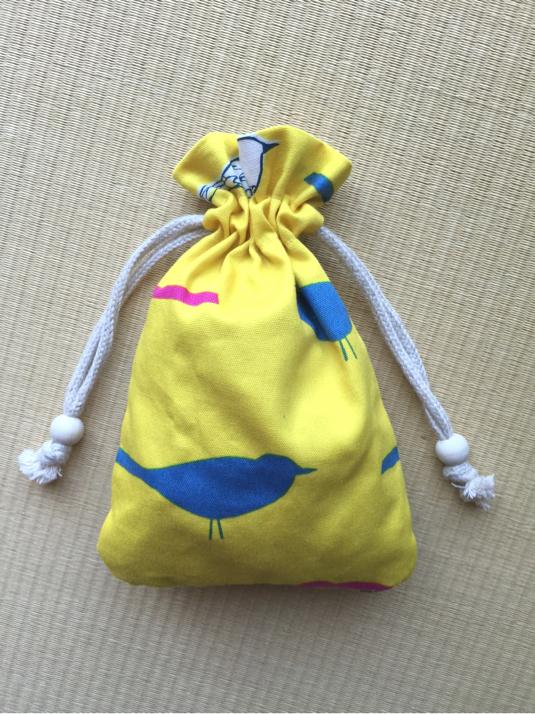 小鳥の巾着    2つ紐
