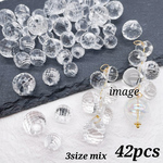 NEW!!【brsr4307acrc】【3size mix】【42pcs】clear acrylic beads  faceted cut beads