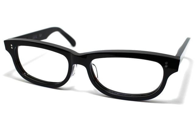 漆黒のようなダークブラウンのセルロイドメガネ050-BB