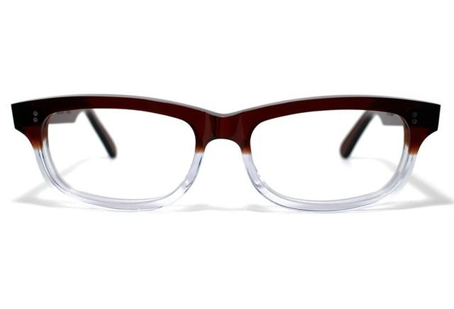 茶色と透明の希少二色生地使用のセルロイドメガネ050-C?C