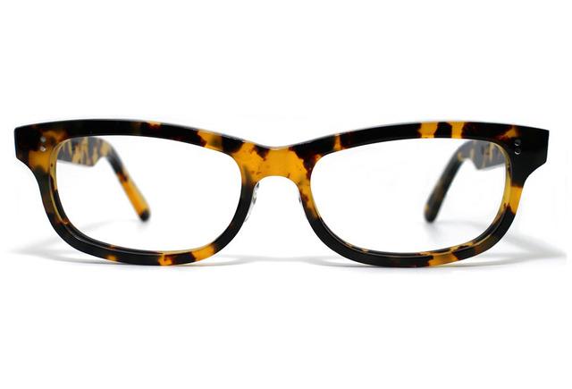 (男性向け)、黄色と黒のマーブル模様のセルロイドメガネ050-バラフ