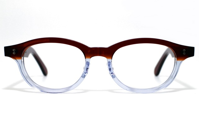 茶色と透明の希少二色生地使用のセルロイドメガネ068-C?C