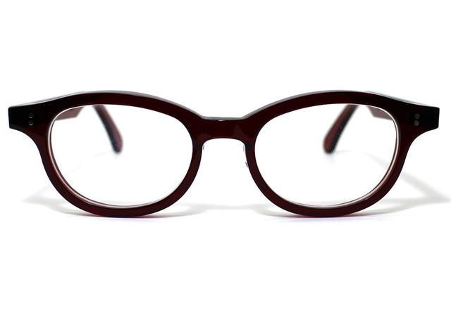 男性向け、ワインレッド生地のセルロイドメガネ068-RR