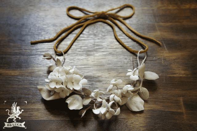 necklace  【 布花ネックレス * hydrangea ,viole & eucalyptus 】
