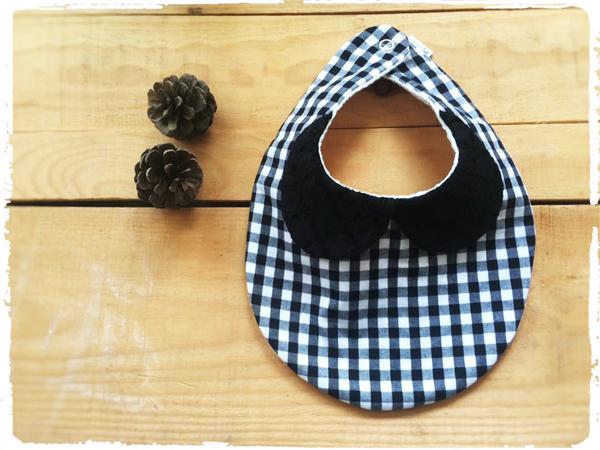 【再販です】かわいいスタイ *刺繍衿×チェック* ブラック