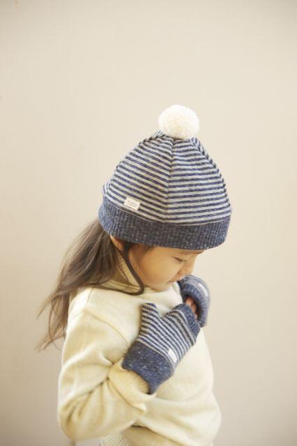 【C様オーダー分】kidsあったかニットベレー帽(L)ボーダー
