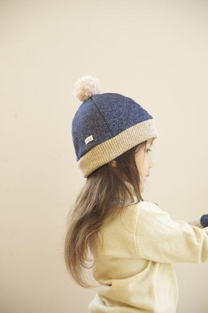 kidsあったかニットベレー帽(L)杢紺