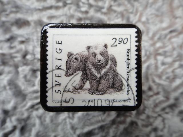 スウェーデン 切手ブローチ 575