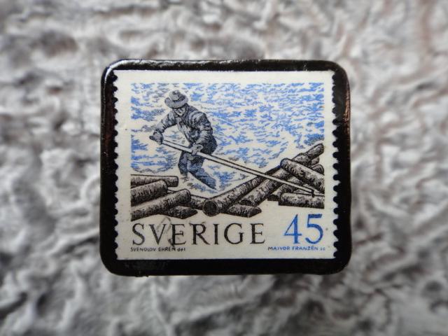 スウェーデン 切手ブローチ 576