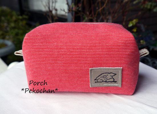 ニット生地のボックスポーチ・ほそーーい赤×ピンクボーダー5♪