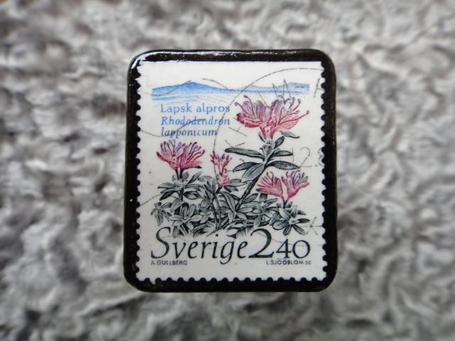 スウェーデン 切手ブローチ 587