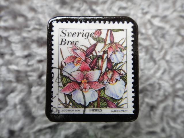 スウェーデン 切手ブローチ 591