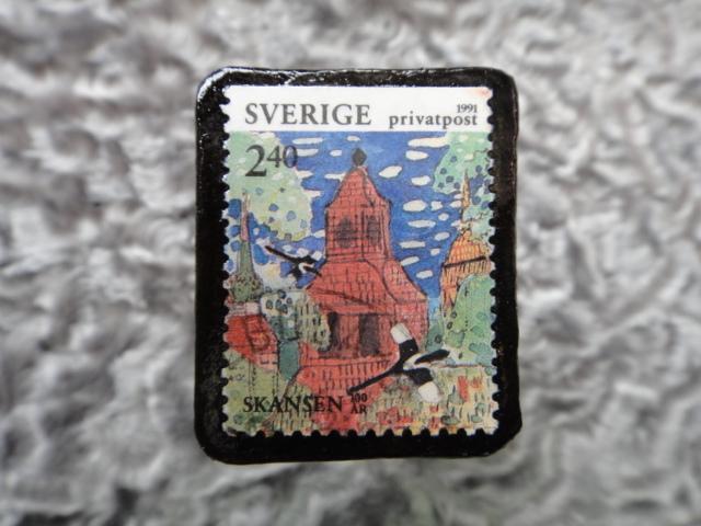 スウェーデン 切手ブローチ 599