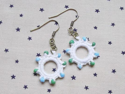 リングピアス ホワイト 水色×緑