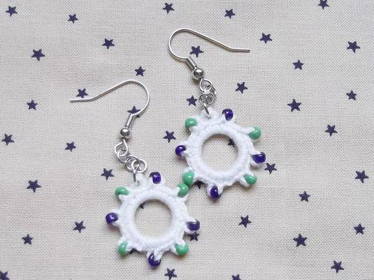 リングピアス ホワイト 緑×紺