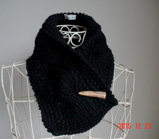 男女フリー☆彡黒色の鹿の子編み&rib縄編みのCowl Neck Warmer