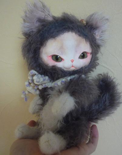 フェイスタイプドール*猫:グレー×白