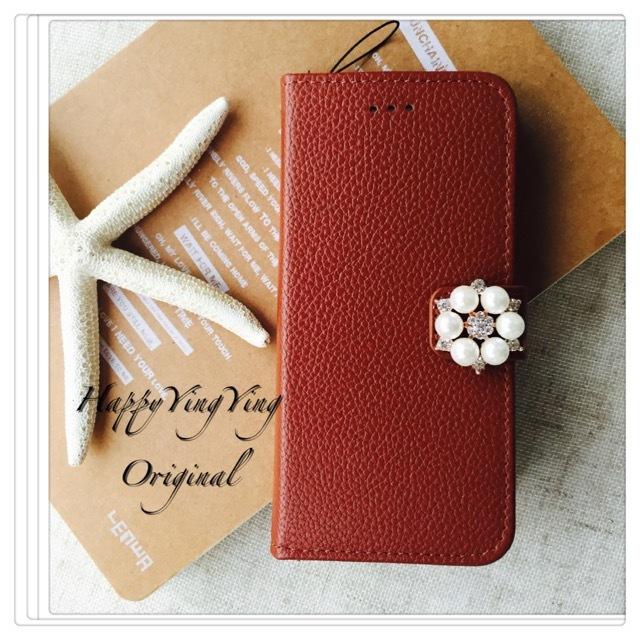 【iphone5/5S/SE】レザー花ビジュー手帳型 茶色 真珠