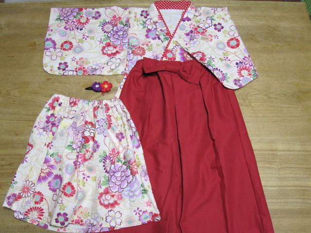 yuuu05様オーダー品着物&袴風ロングスカート髪飾り110、90cm
