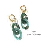 4pcs★aurora clear mix chain・turquoise×moss green(チェーンチャーム)