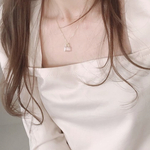 crystal charm necklace (silver925)