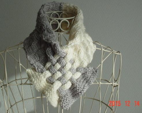 再販☆彡ダミエ風市松模様編み&braid編みのCowl