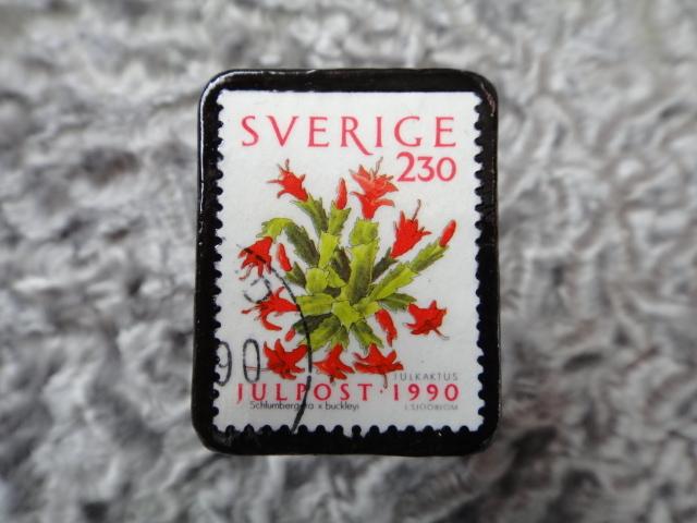スウェーデン 切手ブローチ 610