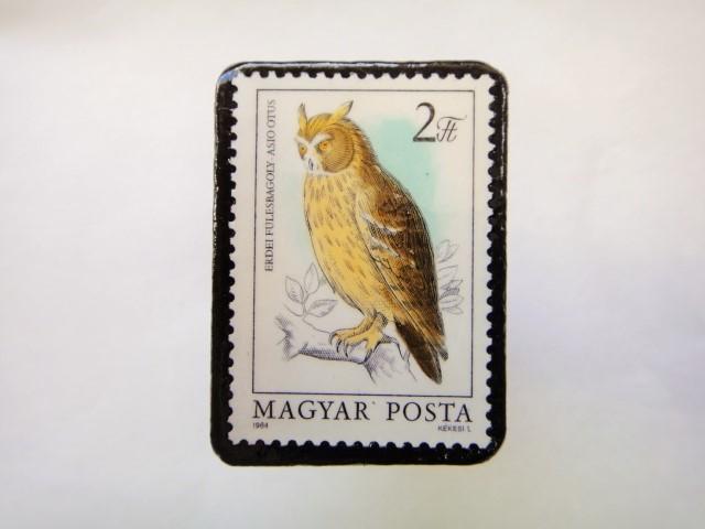 ハンガリー ふくろう切手ブローチ622