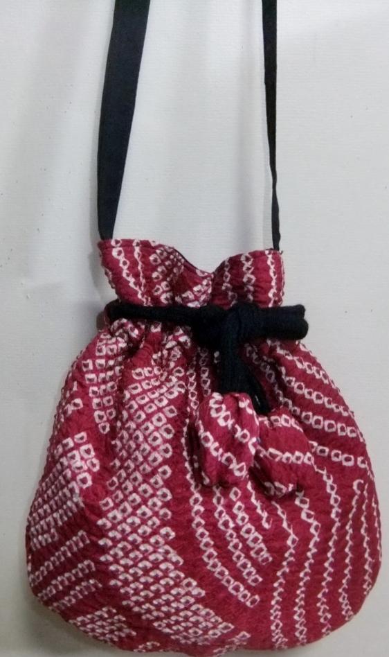 着物リメイク 絞りの羽織で作ったポシェット 950