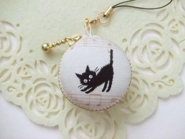黒猫・音符2/マカロンコインケース(マカロンポーチ)ストラップ付