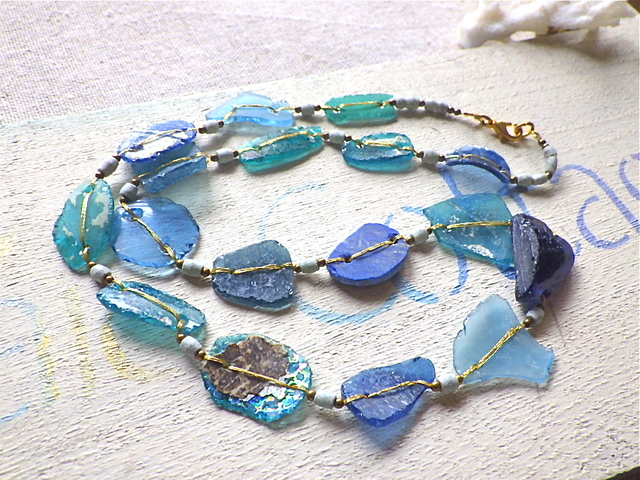 Ocean Blue roman glass necklace