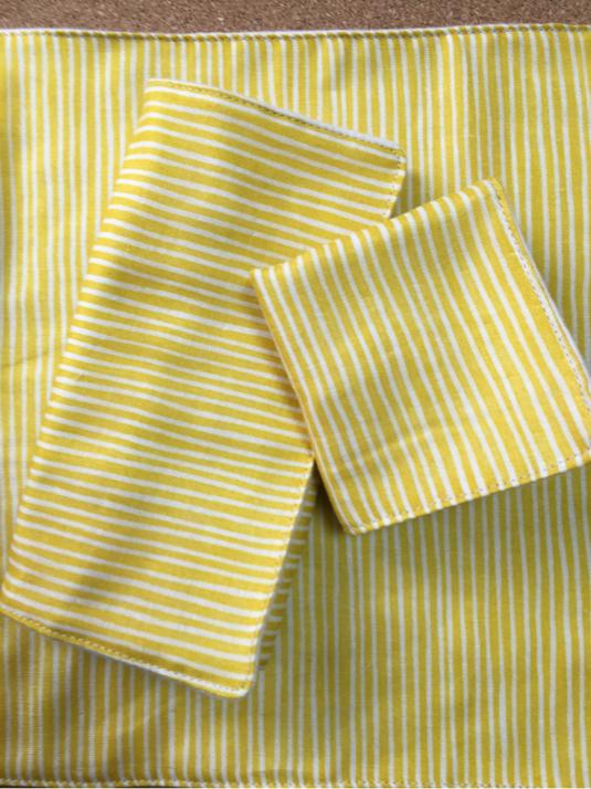 多用途ハンカチ布ナプキンSML3枚セット*黄ストライプ