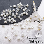 Thanks☆price【brsr4400acrc】【2color mix】【6mm size 160pcs】petit clear&pearl acrylic beads
