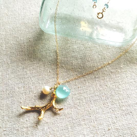 Coral Branch Ocean Necklace  *14kgf* カルセドニー