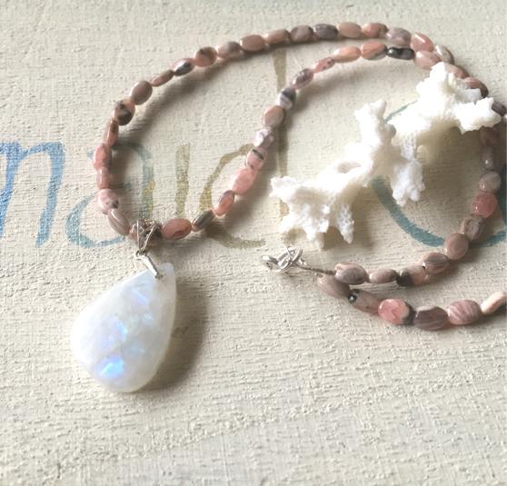 LOVE moonstone& rhodochrosite    ステートメントネックレス  silver925