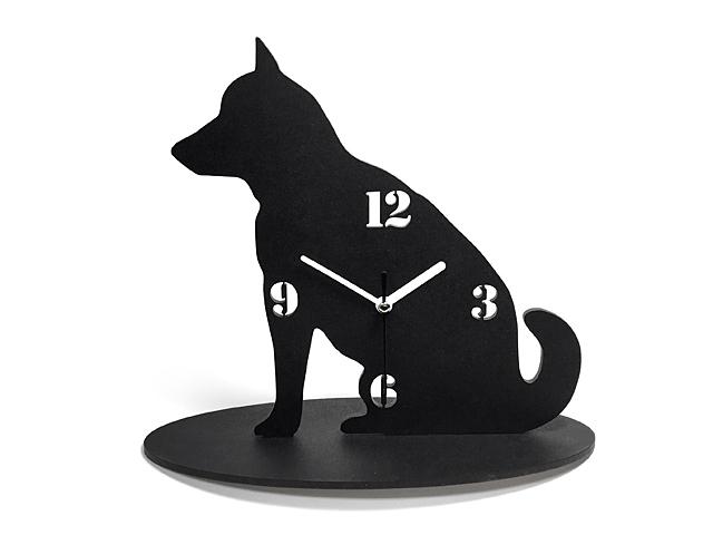【送料¥340】 黒犬の時計【柴犬】