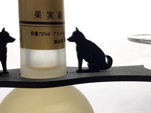 【送料¥90】 おすまし【黒犬柴犬】木製グラスハンガー