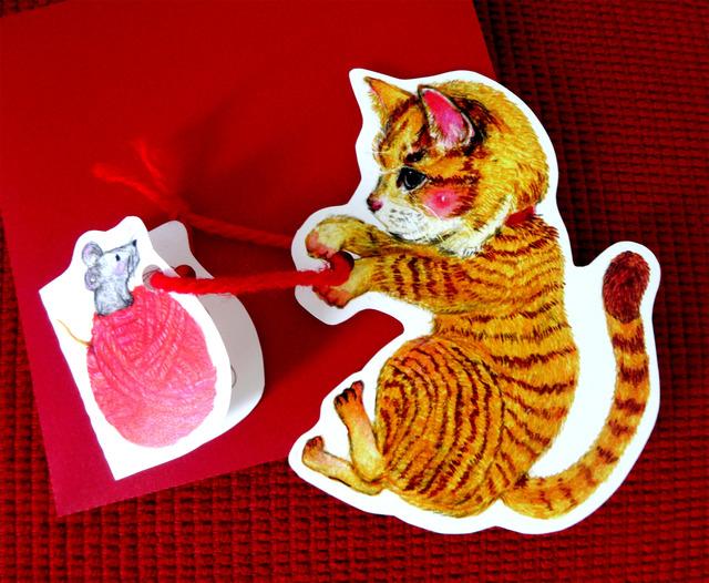 猫と毛糸玉カード