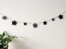 Black×Darkgray ☆ STAR GARLAND 140cm