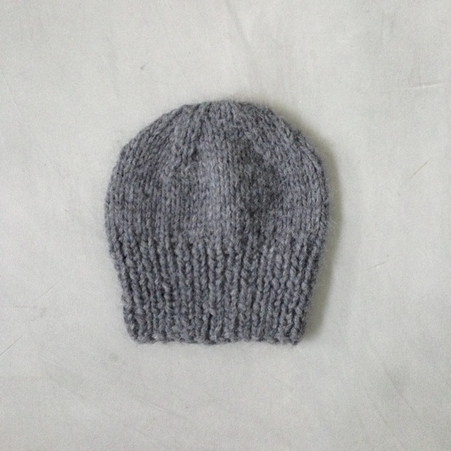 baby alpaca knit cap grey