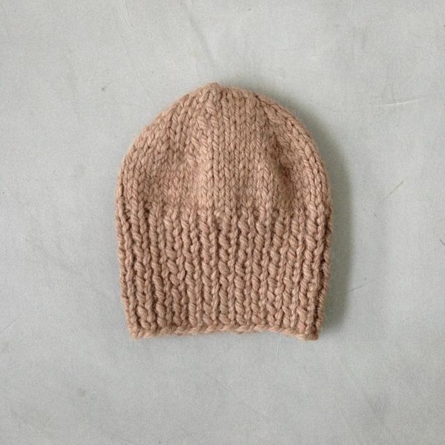 baby alpaca knit cap beige