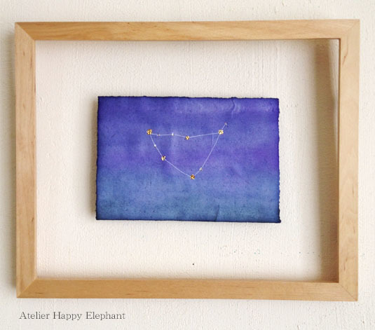 山羊座  《紺・深緑・紫 ハガキサイズ原画》