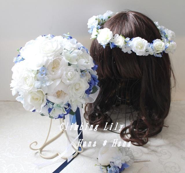ウェディングブーケ ブートニア、髪飾り 3点セット オーダー 造花