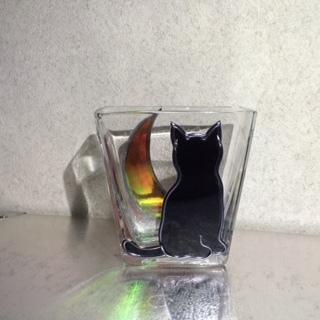 赤い三日月と猫の小物入れ*グラスアート