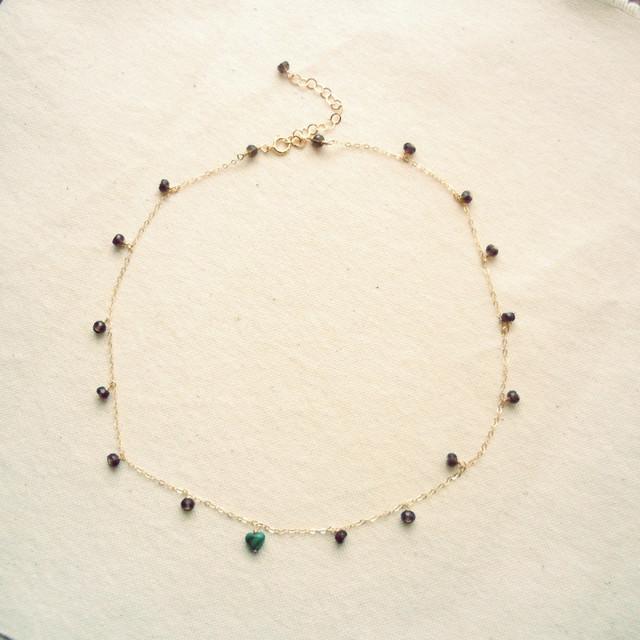 【SALE】天然石のダングルネックレス・スモーキークオーツ&マラカイト