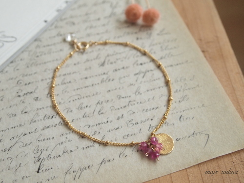 Pink sapphire×Gold plate bracelet