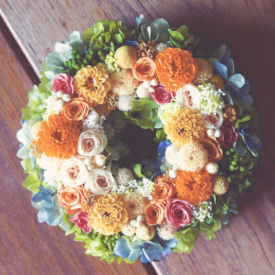 L size order-made preserved flowers wreath リース (25cm〜30cm)